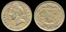 World Coins - 1951 Dominican Republic 5 Centavos VF