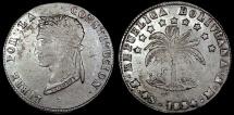 World Coins - 1854 PTS-MF Bolivia 4 Soles - Simon Bolivar - XF