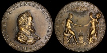 World Coins - 1604  France - King Henri and his second wife Queen Marie De' Medici by Philippe Danfrie