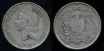 World Coins - 1961 Dominican Republic 1/2 Peso VF