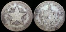 """World Coins - 1916 Cuba 20 Centavos """"Low Relief Star"""" VG"""