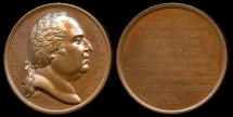 World Coins - 1818 France - Louis XVIII - Laudatory Medal to Nicolas Geradin for his Restoration of Joan of Arc's Birth Home by Jean-Bertrand Andrieu and Baron de Puymaurin