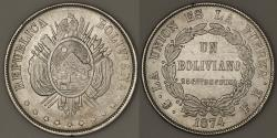World Coins - 1874 PTS-FE Bolivia 1 Boliviano - Reform Coinage - AU Silver