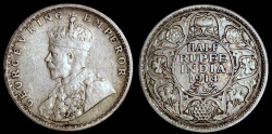 World Coins - 1914 (c) India (British) 1/2 Rupee - George V - Silver XF