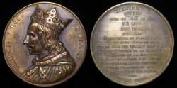 """World Coins - 1836 France - Charles V, """"the Wise"""", monarch of the House of Valois who ruled as King of France (1338-1380) by Armand-Auguste Caqué #32"""