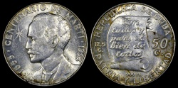 "World Coins - 1953 Cuba 50 Centavos ""Birth of Jose Marti Centennial"" Silver Commemorative AU"