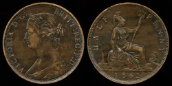 World Coins - 1862 Great Britain 1/2 Penny AU