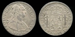 World Coins - 1795 Mo-FM Mexico 8 Real AU