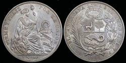 World Coins - 1894 T.F. Peru 1 Sol UNC
