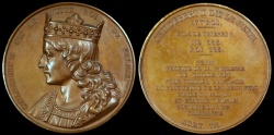 """World Coins - 1840 France - Childebert II,  Merovingian king of Austrasia and Burgundy (575 - 595) by Armand-Auguste Caqué for the """"Kings of France Series"""" #17"""