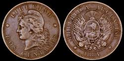 World Coins - 1884 Argentina 2 Centavos XF