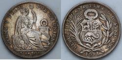 World Coins - 1911 FG Peru 1/5 Sol - XF