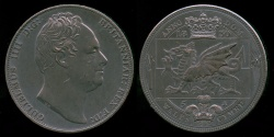 World Coins - 1830 Wales 5 Shillings, Gulielnus IIII - Medallic Issue (2007), Bronzed Copper UNC