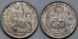 World Coins - 1872 YJ Peru 1 Sol AU