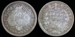 World Coins - 1893 PTS-CB Bolivia 5 Centavos - UNC Silver