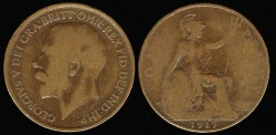 World Coins - 1917 Great Britain Penny - George V