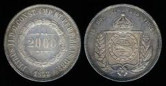 World Coins - 1853 Brazil 2000 Reis - Petrus II - AU Silver