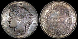 World Coins - 1850 A France 5 Francs - Liberty Head - Paris Mint - Second Republic - AU