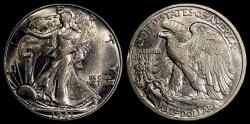 Us Coins - 1941 D Walking Liberty Half Dollar BU