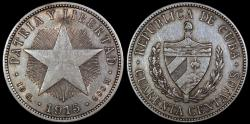 World Coins - 1915 Cuba 40 Centavo - 1st Republic - Medium Relief Star - XF