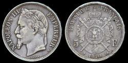 World Coins - 1870 BB France 5 Franc - Napoleon III - VF