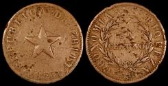 World Coins - 1853 Chile 1 Centavo F