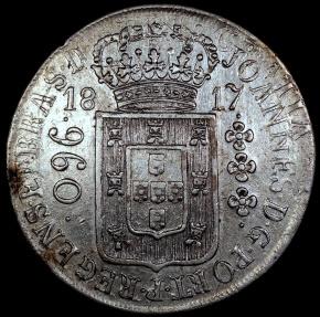 World Coins - 1817 R Brazil 960 Reis - Rio Mint - AU