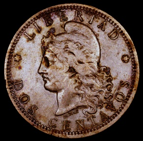 World Coins - 1885 Argentina 2 Centavos VF
