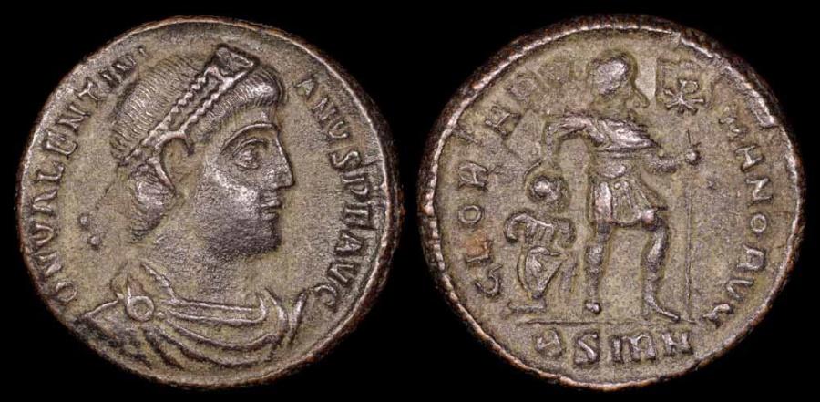 Ancient Coins - Valentinian I Ae3 - GLORIA ROMANORVM - Sirmium Mint