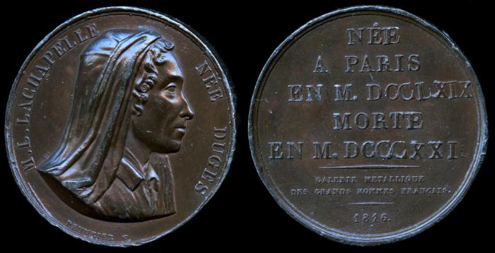 World Coins - 1816 France - M. L. Lachapelle Nee Duges (a famous French midwife) by F. Peuvrier