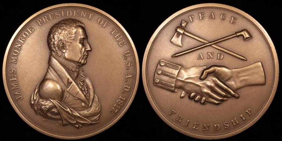 US Coins - 1817 James Monroe - Peace Medal - Fifth President of the United States (March 4, 1817 to March 3, 1825) - Original US Mint Medal by Moritz Furst and John Reich