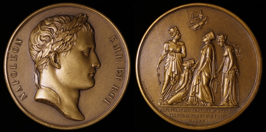 World Coins - 1806 France - Napoleon - Capitulation of Four Prussian Fortresses by Jean-Bertrand Andrieu, Romain-Vincent Jeuffroy and Dominique-Vivant Denon