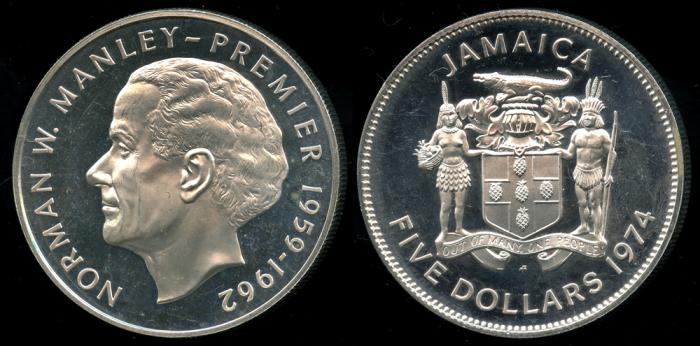 World Coins 1974 Fm Jamaica 5 Dollar Norman Manley Silver Cameo Proof