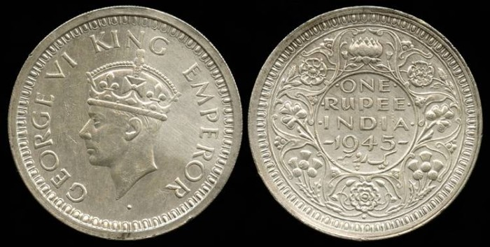 1945 B India British 1 Rupee Unc Asian And Middle