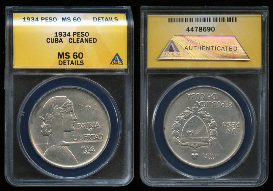 "World Coins - 1934 Cuba 1 Peso - ""ABC Peso"" ANACS MS60"