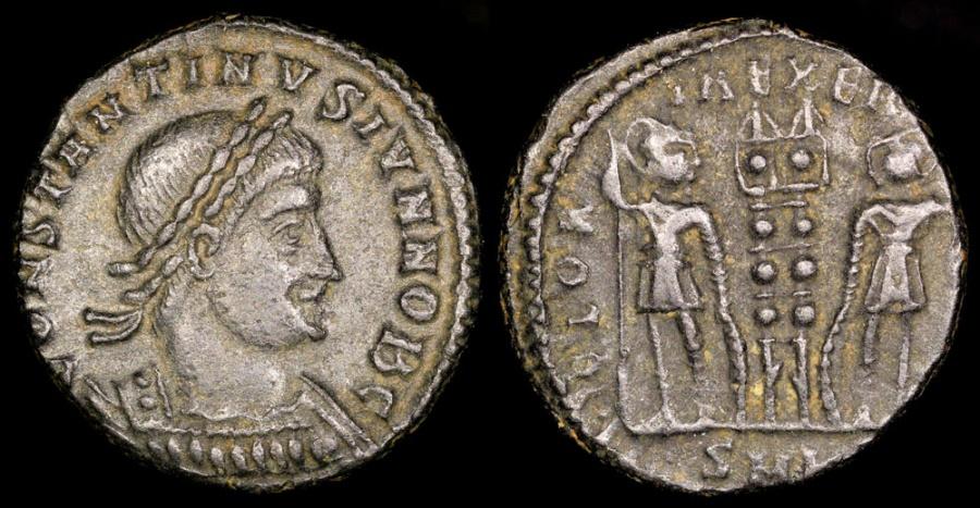 Ancient Coins - Constantine II Ae3 - GLORIA EXERCITVS - Cyzicus Mint