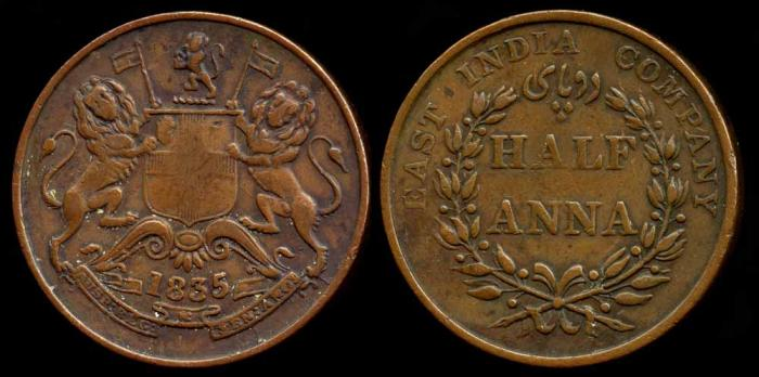 World Coins - 1835 (b) India (British) 1/2 Anna AU
