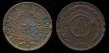 World Coins - 1870 Paraguay 4 Centesimos AU