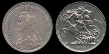 World Coins - 1887 Great Britain 1 Crown - Victoria - AU