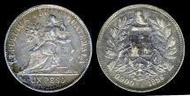 1896 Guatemala 1 Peso - Justice Seated - XF