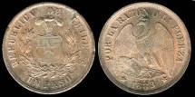 World Coins - 1883 Chile 1 Peso UNC