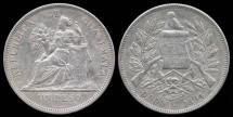 World Coins - 1894 H Guatemala 1 Peso AU