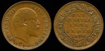 World Coins - 1906 India 1/4 Anna XF