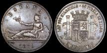 1870 (70) SN-M Spain (Provisional Government) 5 Pesetas XF