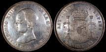 World Coins - 1891 (91) PG-M Spain 5 Peseta - Alfonso XIII - Baby Head - AU