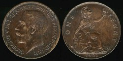 World Coins - 1921 Great Britain Penny UNC
