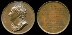 World Coins - 1817  France - Denis Diderot, French philosopher, art critic, and writer by Joseph François Domard