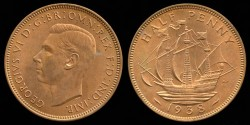 World Coins - 1938 Great Britain 1/2 Penny BU