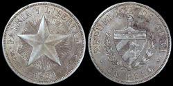 "World Coins - 1933 Cuba 1 Peso ""Star Peso"" AU"
