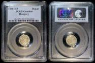 World Coins - 1566 KB Hungary 1 Denar - Maximilián II - Silver - PCGS